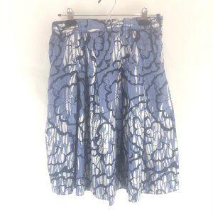 Tahari XS Cotton Pleated Blue and White Skirt